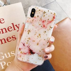 NEW iPhone X/XS Gold & Pink Foil Marble Case